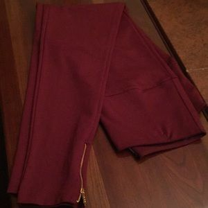 Ponte leggings, ankle zippers. Large